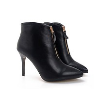 Sexy Pointed High-Heeled Front Zipper Boots