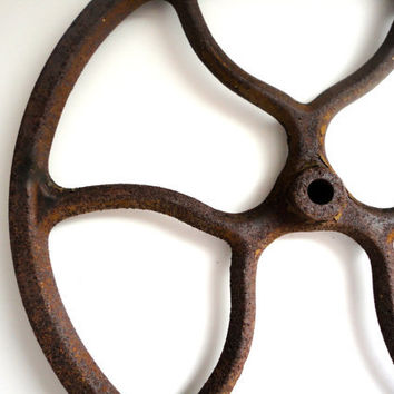 Vintage Cast Iron Pulley Wheel 12 1/2 Inch Rust Industrial Decor