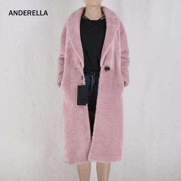 Female lambskin fur coat women soft sheepskin shearling coat lamb skin turn-down collar women's long sleeves winter warm coat