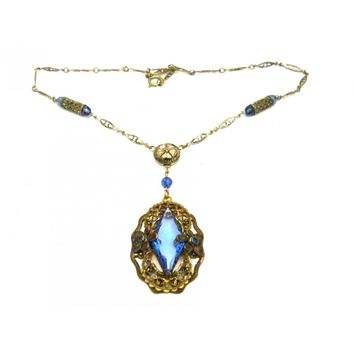 Vintage Necklace Blue Glass Downton Abbey Early 1920s