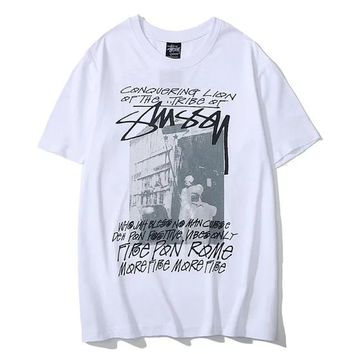 Stussy Tide brand black tribe street letter graffiti men and women half sleeve t-shirt white