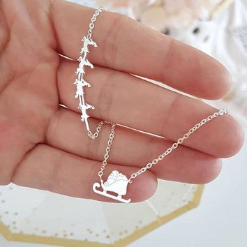 Christmas Jewelry Stainless Steel Gold Silver Color Chain Santa Claus And Reindeer Pendant Necklaces For Women Best Friend Gift