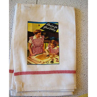 retro Fifties housewife towel vintage 1950's cookbook rockabilly kitchen kitsch