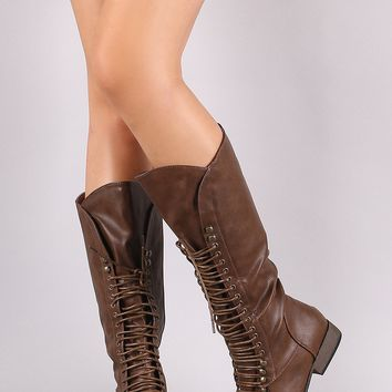 Round Toe Combat Lace-Up Knee High Boots