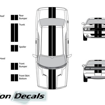 "Dodge Challenger 2013 Dual 8"" Rally Racing Stripes Vinyl Decal Kit"