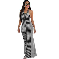 Lace-up Halter  Striped  Dress  Casual Beach Maxi Dress Off Shoulder  Long Dress Sundress SM6