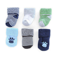 Carter's Boys 6 Pack Terry Socks - Paw Print (0-3 Months)