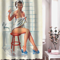 foto retro vintage shower curtain adorabel batheroom hane made