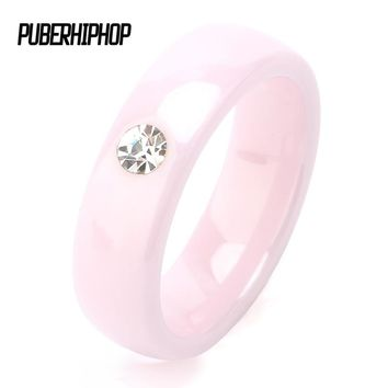 TUHE New Arrival Pink Ceramic Rings For Women Huge Zircon Cabochon Setting Ceramic Wedding Rings Cute Simple Unique Design