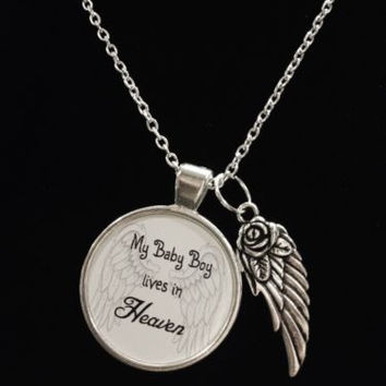 Guardian Angel Baby Boy Son Heaven Wing Child Passed Away Quote Memory Necklace