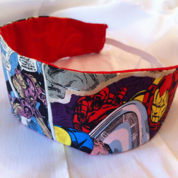 Iron Man Reversible Fabric Headband Marvel Avengers by StylishGeek