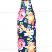 Stainless Steel 17 oz Vintage Florals Hot/Cold Bottle {Navy}