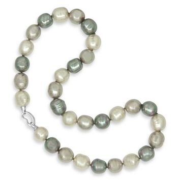 Majorica Plated Sterling Silver Multicolor Simulated Baroque Pearl 20-Inch Strand Necklace