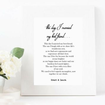 This Day I Married My Best Friend, Personalized Wedding Anniversary Print
