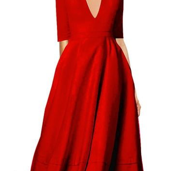 Red Zipper Pleated Plus Size Skater A-line Prom Evening Party Maxi Dress