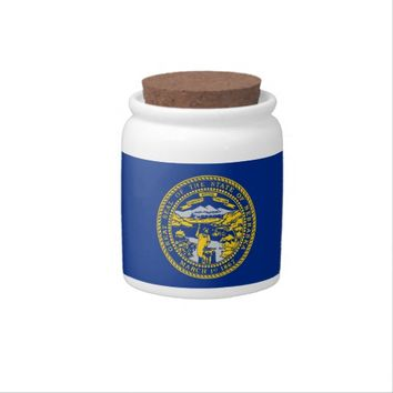 Nebraska State Flag Candy Jar