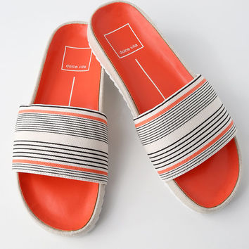 Sonia Coral Stripe Slide Sandals