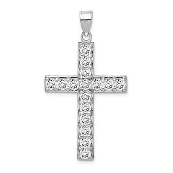Rhodium-Plated Sterling Silver CZ Large Cross Pendant, 25 x 42mm