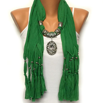 CHRISTMAS SALE green jewelry scarf with rhinestone pendant Christmas gift or for you high fashion scarf
