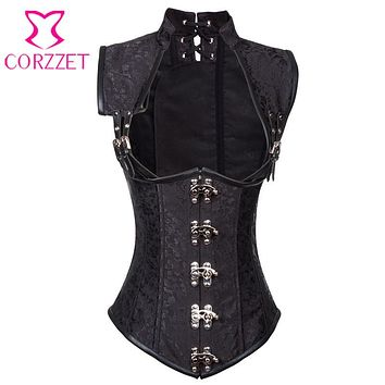 Black Brocade Collared Top Sexy Cupless Waist Trainer Vest Steampunk Corset Gothic Clothing Corsets and Bustiers Steel Boned