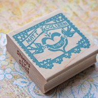 Hand Carved Mounted Papel Picado Wedding Stamp - Return Address, Stationery, Invitations, Thank You Cards, Christmas Cards