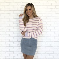 Kandi Knit Lilac Stripe Sweater