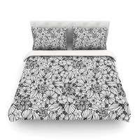 """Julia Grifol """"Candy Flowers In Black"""" Gray White Featherweight Duvet Cover"""
