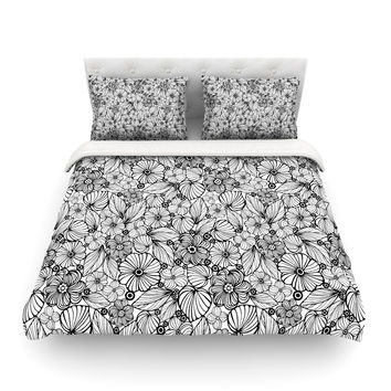"Julia Grifol ""Candy Flowers In Black"" Gray White Featherweight Duvet Cover"