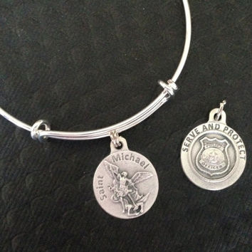 Serve and Protect Saint Michael Archangel Charm on a Silver Expandable Adjustable Bangle Bracelet Patron Saint of Protection Inspirational Jewelry
