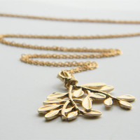 "Large Matte Gold Plated Tree Branch Pendant on 24"" Matte Gold Chain"