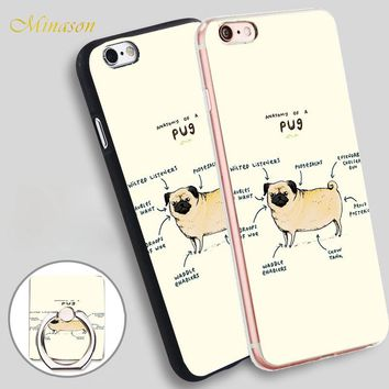 Minason Anatomy Of a Pug Mobile Phone Shell Soft TPU Silicone Case Cover for iPhone X 8 5 SE 5S 6 6S 7 Plus