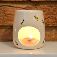 Bumblebee Wax Warmer - Oil Burner - Candle Holder - Honey Bee - Wildlife - Insect - Buzzing Bee - Spring Time - Honeycomb - Tealight Scent
