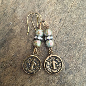 Knotted Rustic Saint Benedict Religious Medal Coin,  Crystal Dangle Earrings, Faith Jewelry by Two Silver Sisters