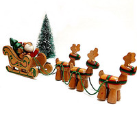 Santa & Reindeer Figures Sleigh Wooden Hand Painted Dakin 1984 Holiday Home Decor