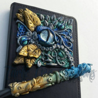 Fantasy Dragon Eye Journal Pen Set Polymer Clay