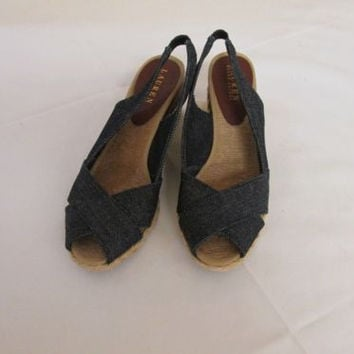 Lauren Ralph Lauren Womens Camara Sandals Denim 9.5 B