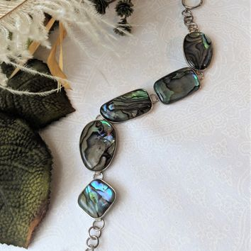 Vintage LUC Sterling Silver Abalone Adjustable Toggle Bracelet