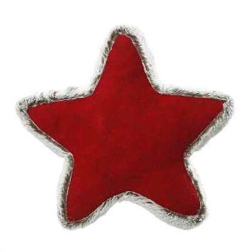 Heather Felt, Fur Trim Star Pillow Red