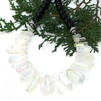 Rainbow Quartz Points and Black Agate Bib Necklace, Handmade Collar Statement Jewelry for Her