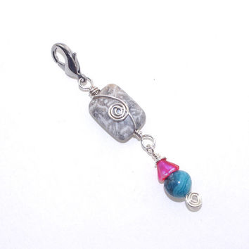 Jacket Zipper Pull – Earthy Wire Wrapped Stone Handbag Charm  - Key Ring Accessory – Birthday Present for Her