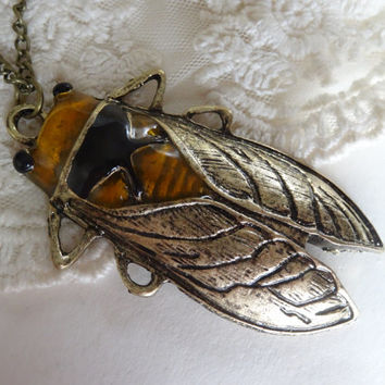1- Cicada Insect Necklace Large Vntage Style Locust Insect Bronze Painted Bug Pendan tBuyDiy  Finished Necklace Jewelry