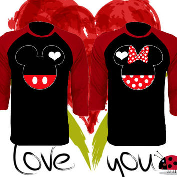 Mickey and Minnie Faces Kissing Inspired Soul Mate Couple Disney Perfect Matching Love Set Raglan Baseball Tee 3/4 Sleeve Price For 1 Tee