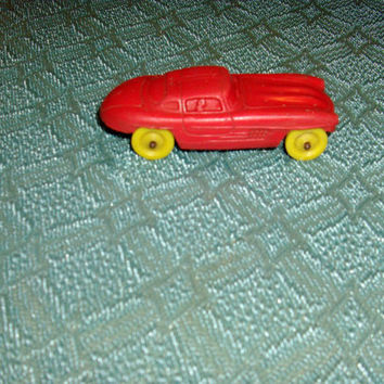 FREE SHIPPING Vintage Little Red Rubber Car Yellow Wheels Auburn Rubber Co. Made In USA