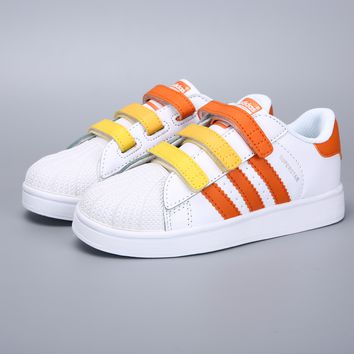 Adidas Original Superstar White Yellow Orange Velcro Toddler Kid Shoes - Best Deal Online