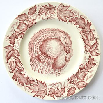 Clarice Cliff Royal Staffordshire Thanksgiving Turkey RED English Transferware Plate Tonquin Autumn Foliage - Holiday Entertaining