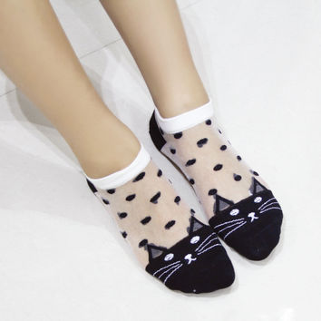 5 Pair Lovely Fashion Women Lace Nylon Socks Cute Cartoon Cat Crystal Transparent Boat Sox Sexy Summer Short Ankle Socks