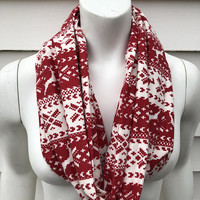 Chistmas Scarf-Red and White Reindeer Flannel Handmade Infinity Scarf-Winter Chunky Scarf-Gifts for Her-Toddler Kid's Scarf-Mommy and Me