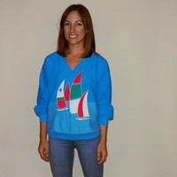 Vintage Sweater, Sail Boat Ocean Tropical Boho Chic Hipster Sweater Blue