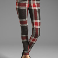 AGAIN Harding Stretch Lowrise Skinny Pant in Red Flannel from REVOLVEclothing.com