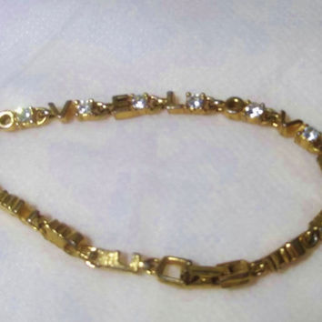 LOVE  Bracelet, Tennis Bracelet Style, Clear Rhinestones, Gold Filled, Great Condition, Gold Tone, Estate Jewelry, Yellow Gold Jewelry